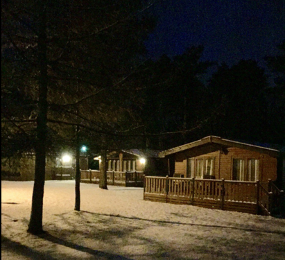 darwin forest country park lodges in the snow
