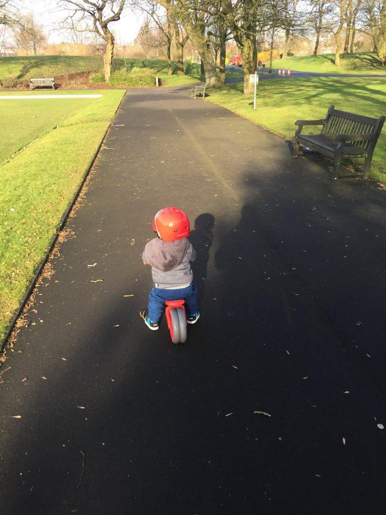 2 year old on yvolution balance bike