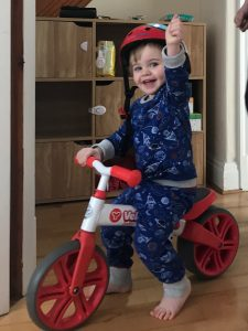 Toddler on Yvelo junior Balance Bike