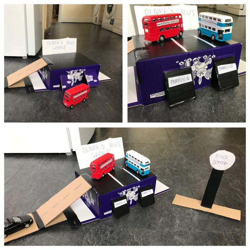 Cardboard Bus Garage